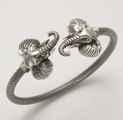 Two Elephant Heads Bangle Bracelet