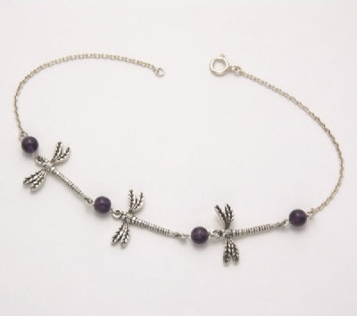 3 Dragonfly Bracelet with Amethyst Beads