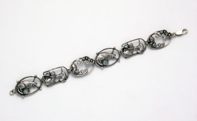 Cats with Onyx in Ovals Bracelet