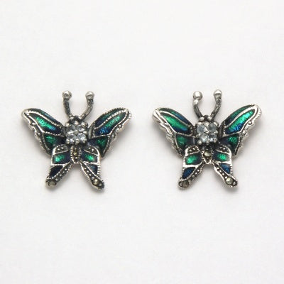 Marcasite with Blue Topaz Butterfly Earrings