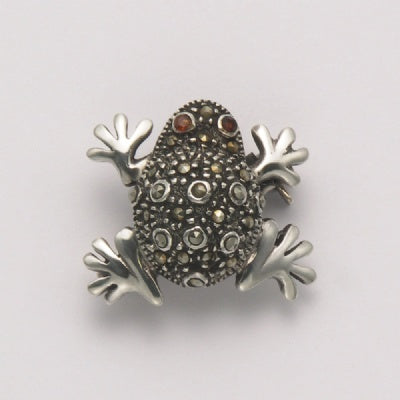Small Fat Marcasite Frog with Garnet Eyes Pin
