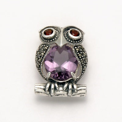 Marcasite Owl with Amethyst Body and Garnet Eyes Pin