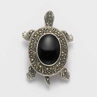 Marcasite with Onyx Turtle Pin