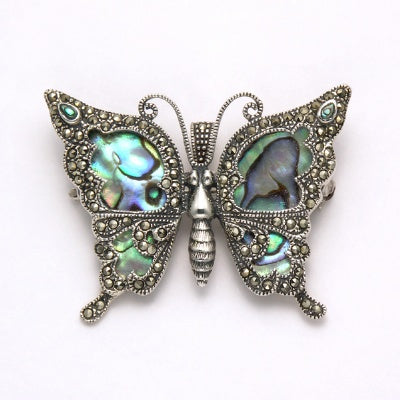 Marcasite Butterfly Pin with Onyx