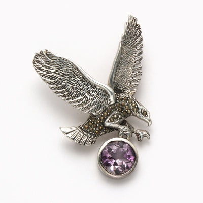 Flying Eagle Marcasite with Amethyst Pin