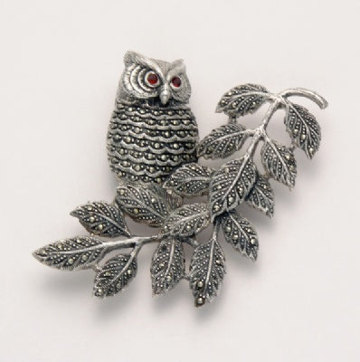 Marcasite Owl on Limb Pin