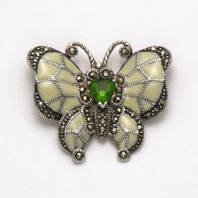 Marcasite Enamel with Peridot Butterfly Pin