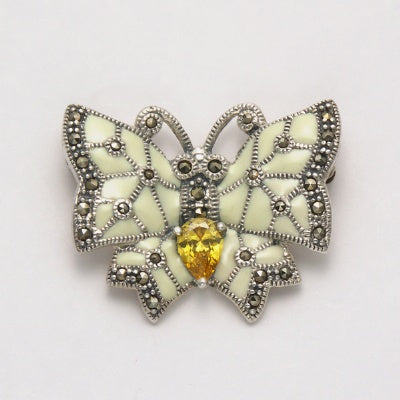 Marcasite Enamel with Citrine Butterfly Pin