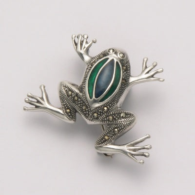 Marcasite Frog with Blue Stone Back Pin