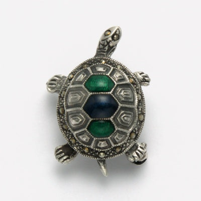 Marcasite Turtle Pin with Onyx and Malachite