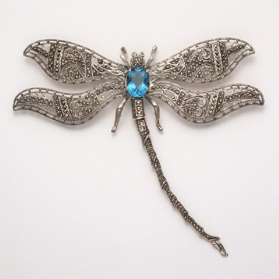 Large Marcasite Dragonfly Pin with Blue Topaz