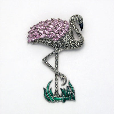 Large Marcasite Flamingo with Pink Cubic Zirconia Pin