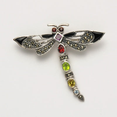 Small Marcasite Dragonfly Pin with Multi Stones