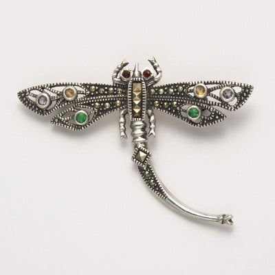 Marcasite Dragonfly Pin with Multi Stones
