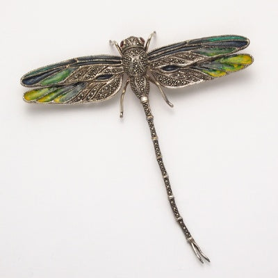 Marcasite Dragonfly Pin with Enamel