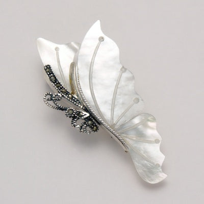 Large Marcasite Butterfly Pin with Mother of Pearl