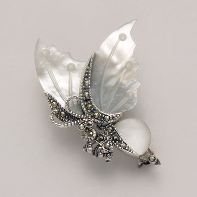 Small Marcasite Butterfly Pin with Mother of Pearl