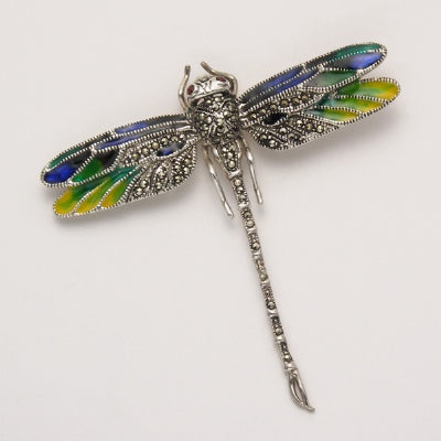 Small Marcasite Dragonfly Pin with Enamel