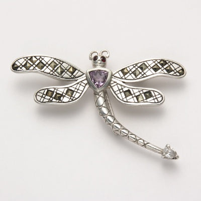 Dragonfly Pin with Garnet and Amethyst