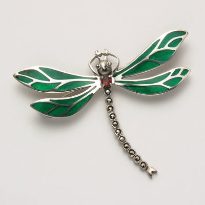 Marcasite Dragonfly Pin with Malachite