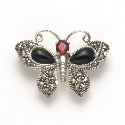 Small Marcasite Butterfly Pin with Onyx and Garnet