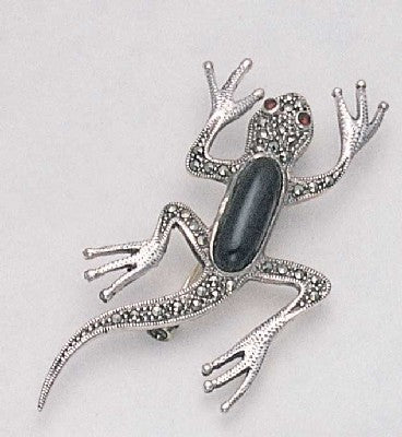Marcasite Lizard Pin with Onyx and Garnet