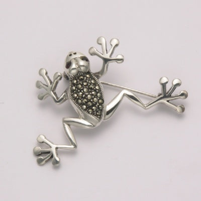 Marcasite Frog with Garnet Eyes Pin