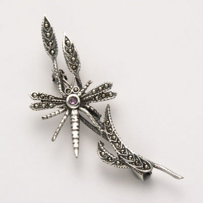 Dragonfly on Plants Pin with Amethyst