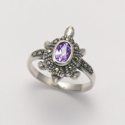 Marcasite Amethyst Turtle Ring