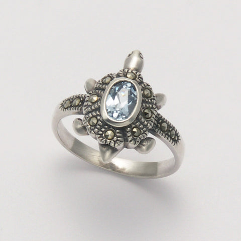 Marcasite Blue Topaz Turtle Ring