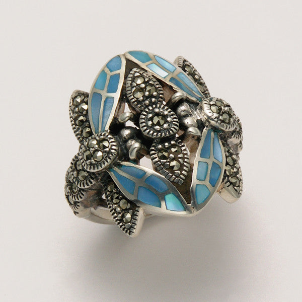 Small Marcasite Two Dragonfly Ring with Blue Shell