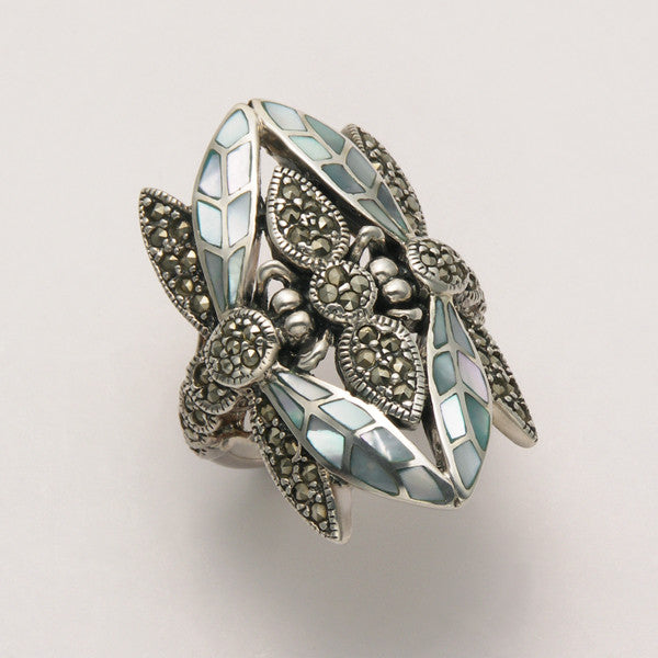 Large Marcasite Two Dragonfly Ring with Blue Shell