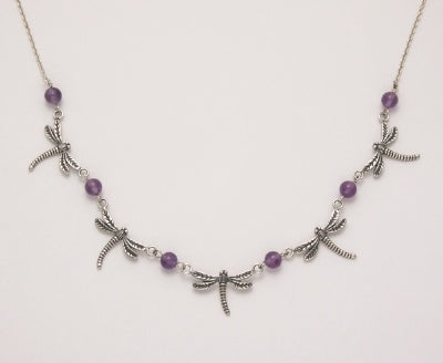 5 Dragonfly Necklace with Amethyst Beads