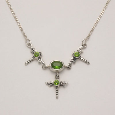 3 Dragonfly Necklace with Peridot