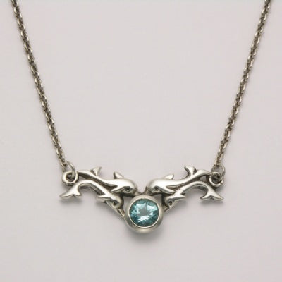 Dolphins with Blue Topaz Necklace