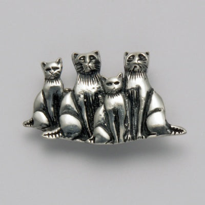 Four Sitting Cats Pin