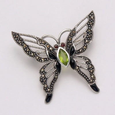 Marcasite with Peridot Butterfly Pin