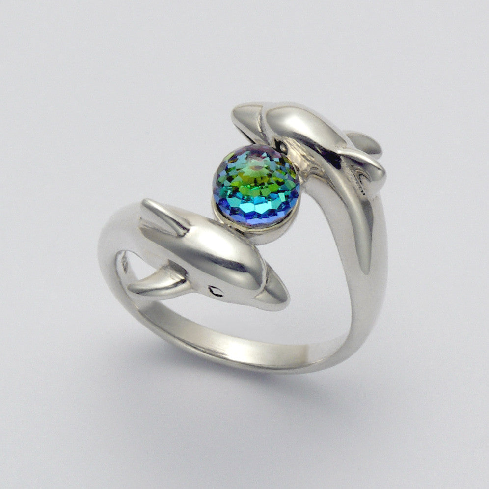 Dolphins with Crystal Ring