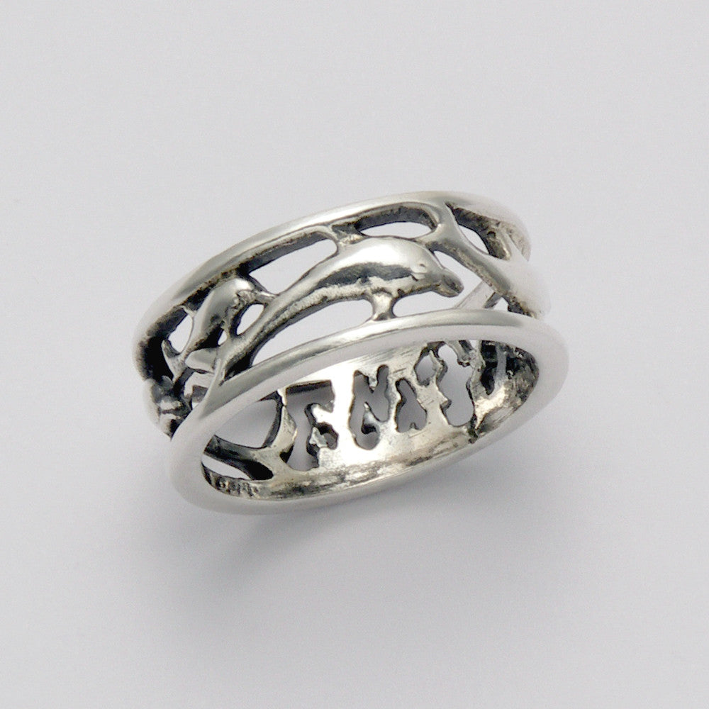 Banded Dolphin Line Ring