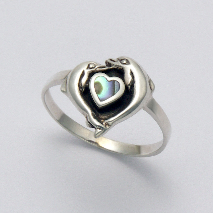 Dolphins with Abalony Heart Ring