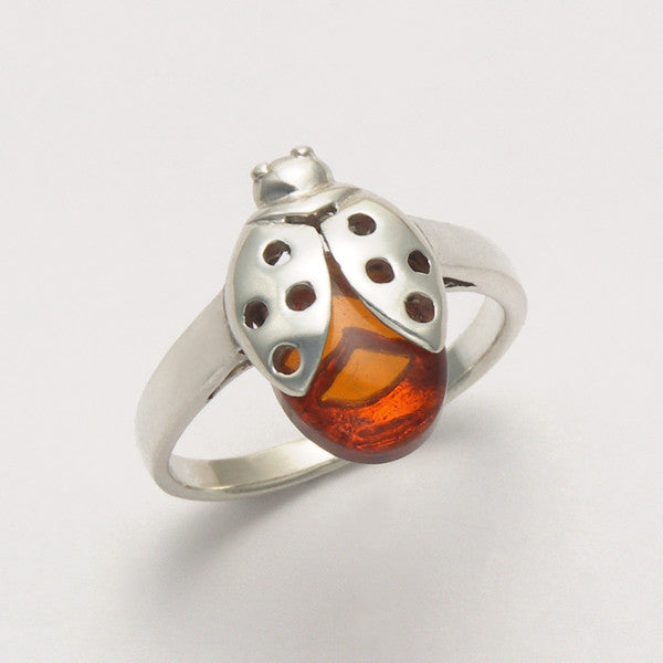 Ladybug with Amber Ring