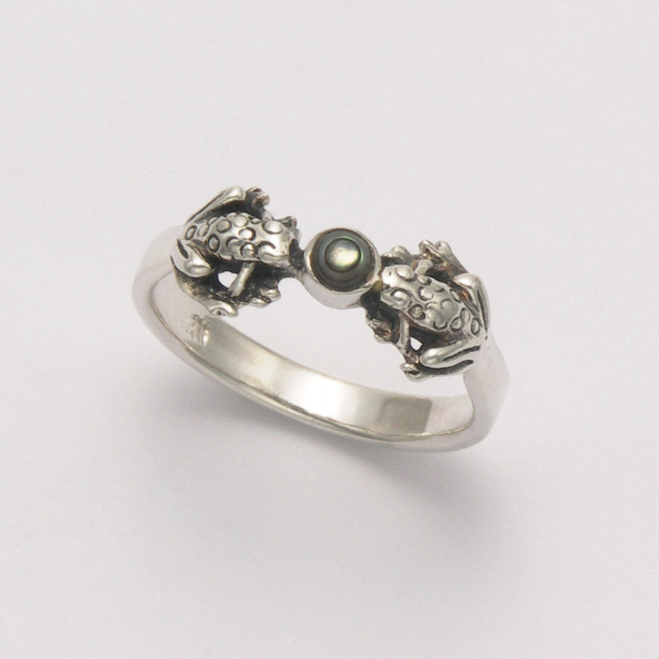 Two Frogs with Center Stone Ring