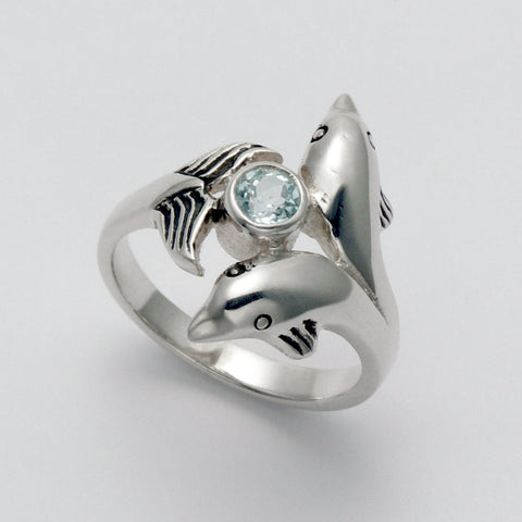 Topaz and Dolphins Ring