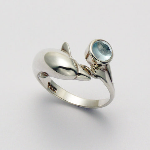 Dolphin Wrap with Blue Topaz Ring