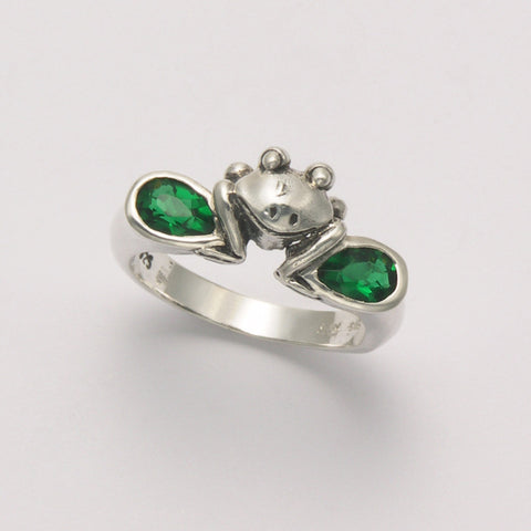 Frog Face with Two Synthetic Emerald Ring