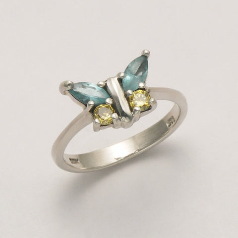 Butterfly Ring with Blue Topaz and Peridot