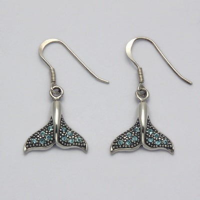 Aqua Crystal Whale Tail Earrings