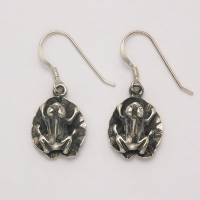 Frog on Lily Pad Dangle Earring