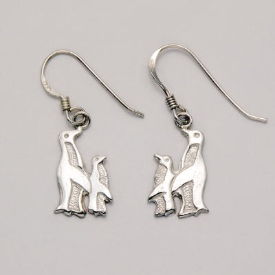 Flat Parent / Baby Penguin Earrings