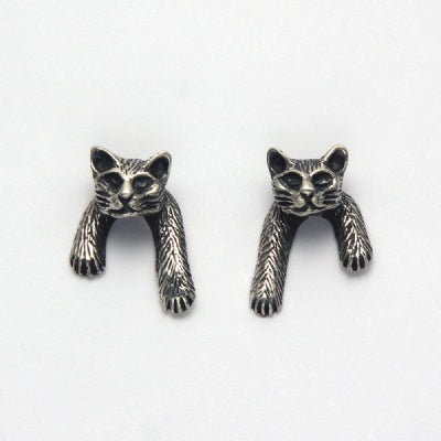 Small Cat Head with Front Paws Earrings